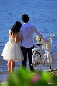Romantic couple with a bicycle.
